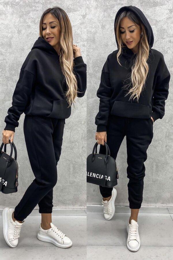 Φόρμες μπλούζα και παντελόνι σέτ μαυρο