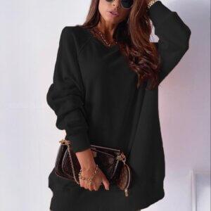 Μπλούζα-φόρεμα φούτερ σε μαύρο