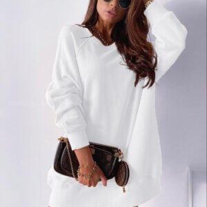Μπλούζα-φόρεμα φούτερ σε λευκό