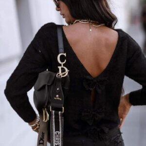 Μπλούζα πλεκτή σε μάυρο χρώμα