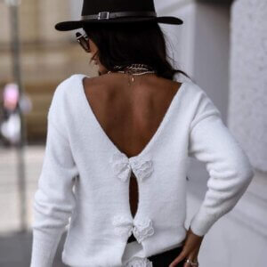 Μπλούζα πλεκτή σε λευκό χρώμα