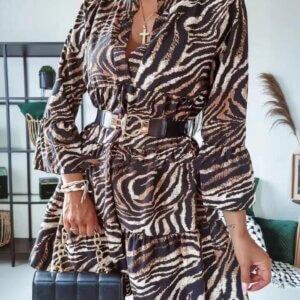 Φόρεμα με ζώνη στη μέση σε κάμελ χρώμα